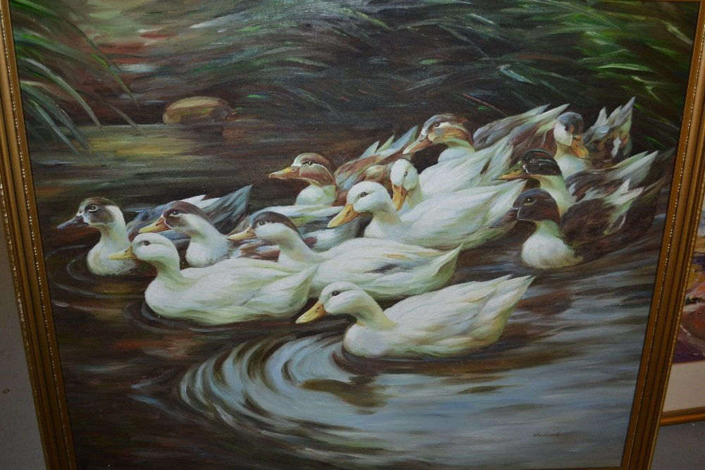 Oil on canvas, study of a group of ducks on water,