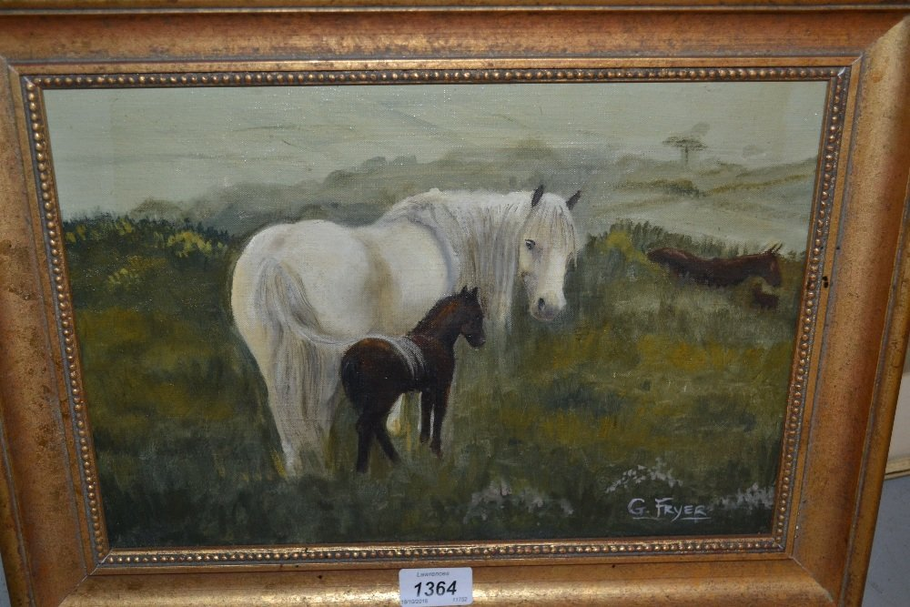 G. Fryer, oil on canvas, view of a Dartmoor mare and