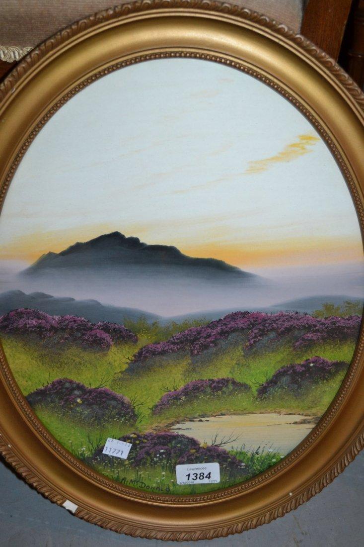 A. McDonald, pair of oval gilt framed gouache