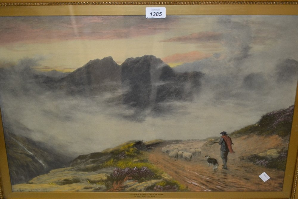 20th Century overpainted print, ' Evening Mists, Isle