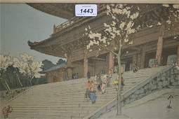 Hiroshi Yoshida signed etching, view of Choin-In temple