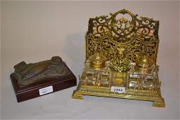 Edwardian brass two bottle inkstand together with a