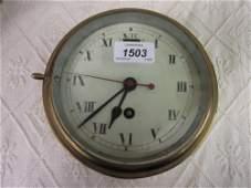 Early 20th Century ships brass cased bulk head clock