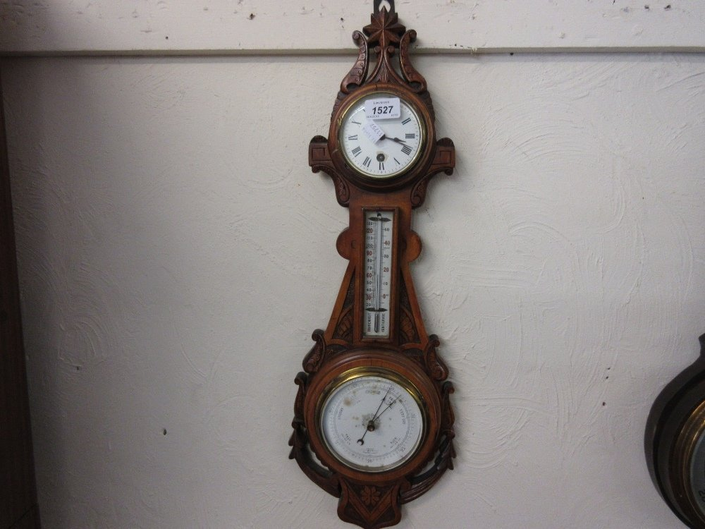 Edwardian carved satin birch clock thermometer