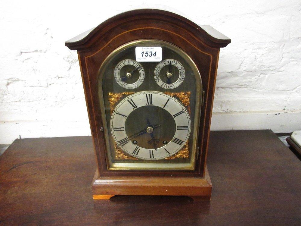 Edwardian mahogany and line inlaid bracket clock, the