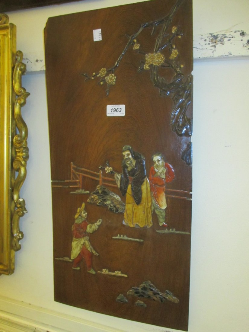Pair of oriental hardstone inlaid exotic hardwood wall