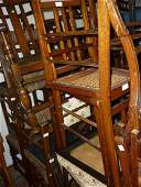 Pair of Edwardian marquetry inlaid bedroom chairs,