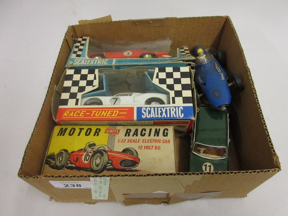 Two boxed Scalextric racing cars, an Airfix boxed motor