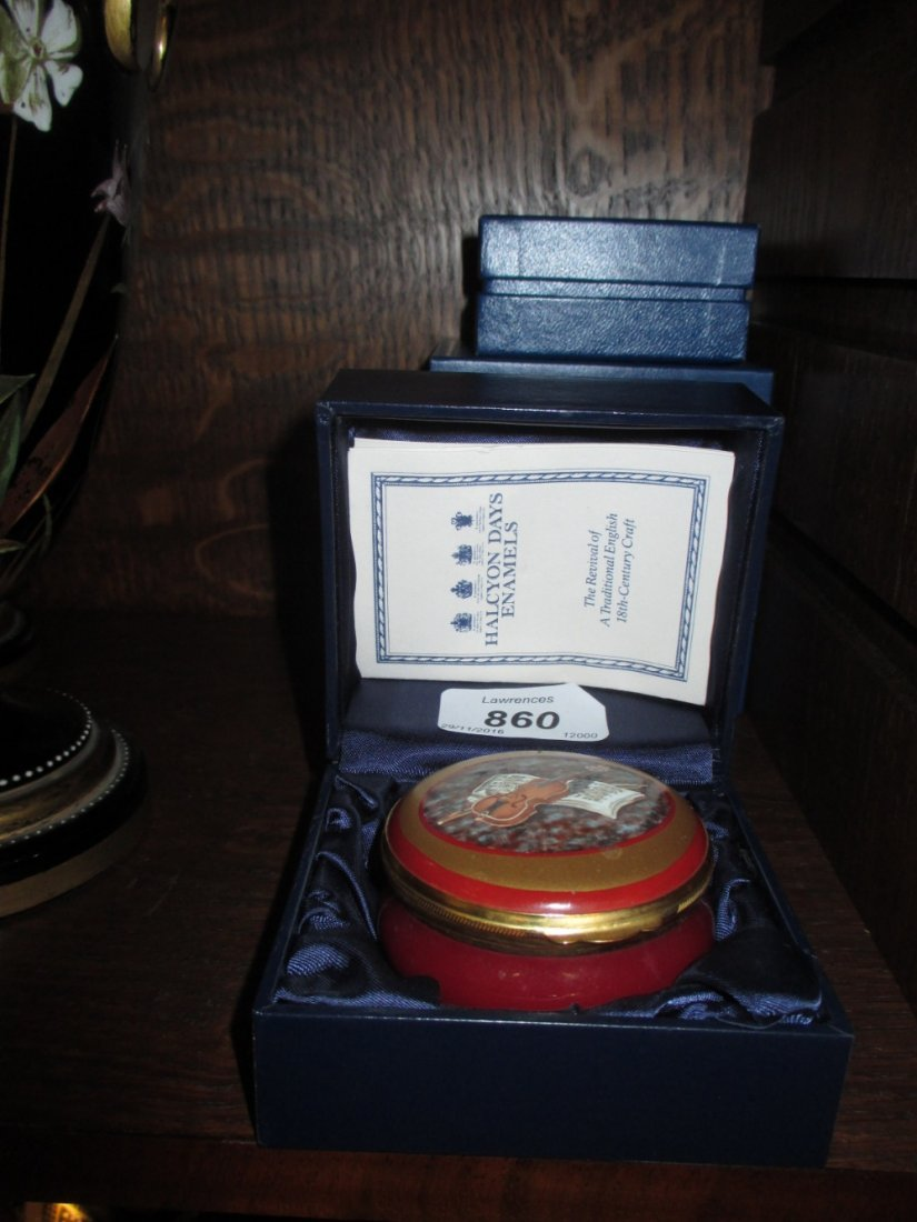 Two boxed Halcyon Days enamel boxes, together with a