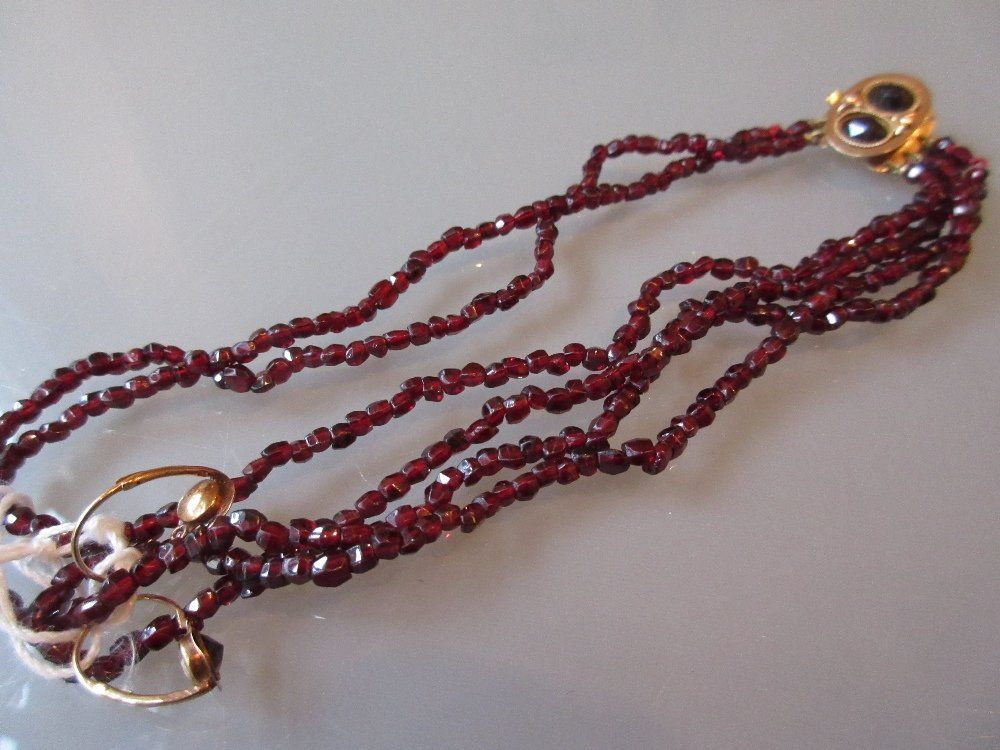 Victorian child's garnet set necklace with earrings