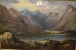 Edward Train, oil on board, figures in a Highland loch