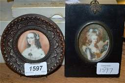 Two framed miniature portraits of young ladies