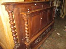19th Century Continental oak double bedstead with