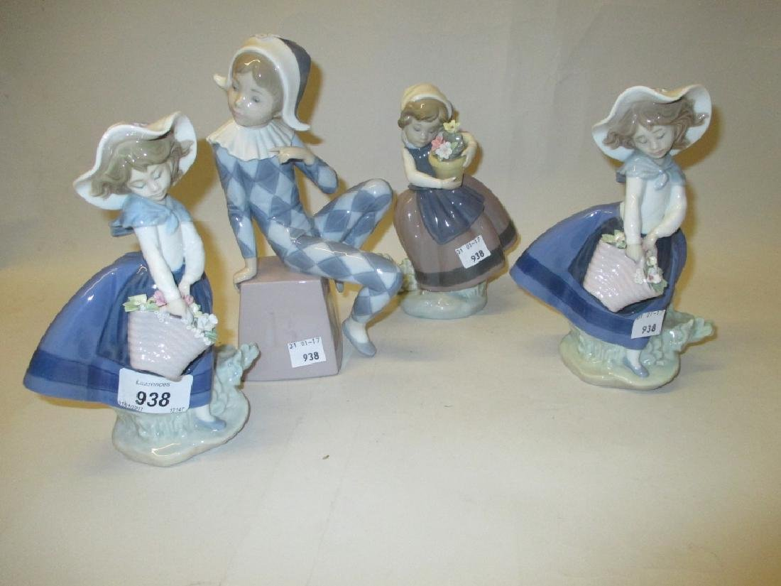 Four various Lladro porcelain figures of girls