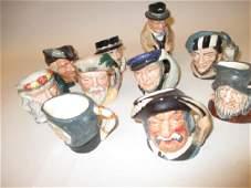 Group of nine small Royal Doulton character jugs