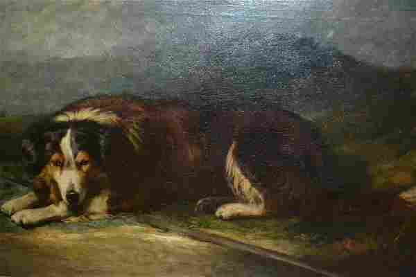 Attributed to James Stark, oil on canvas, a collie dog