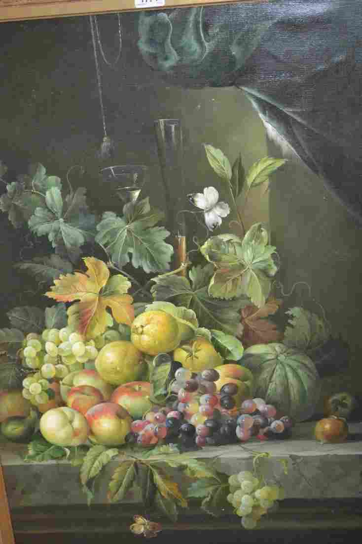 Modern oil on canvas, still life of fruit on a marble