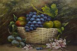 E. Chester, oil on board, still life, fruit and