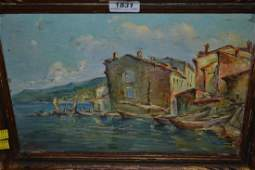C Ravol pair of oil paintings on board Italian lake