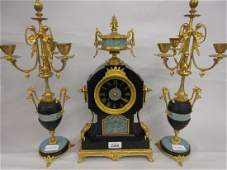 19th Century French black slate ormolu and porcelain