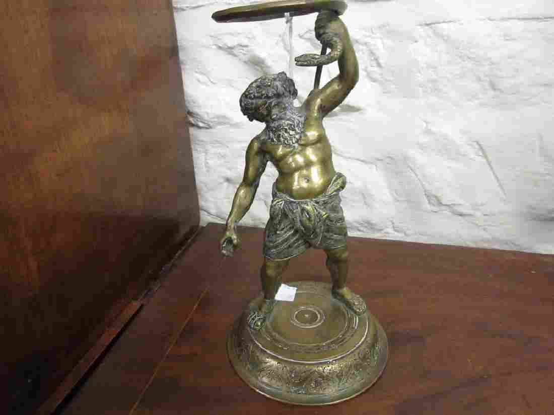 Italian bronze figural stand, signed to the base and