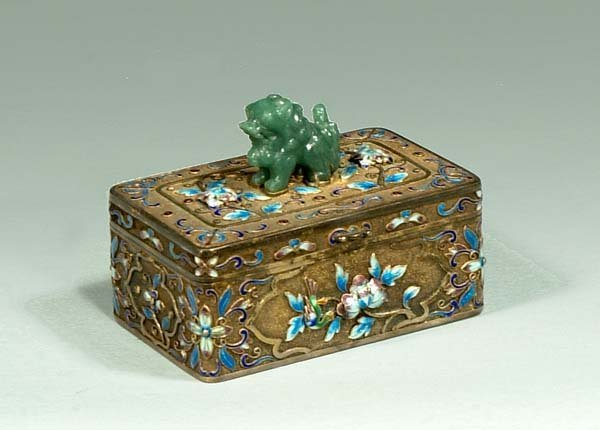 1: Small silver box with enamel decoration and carved j