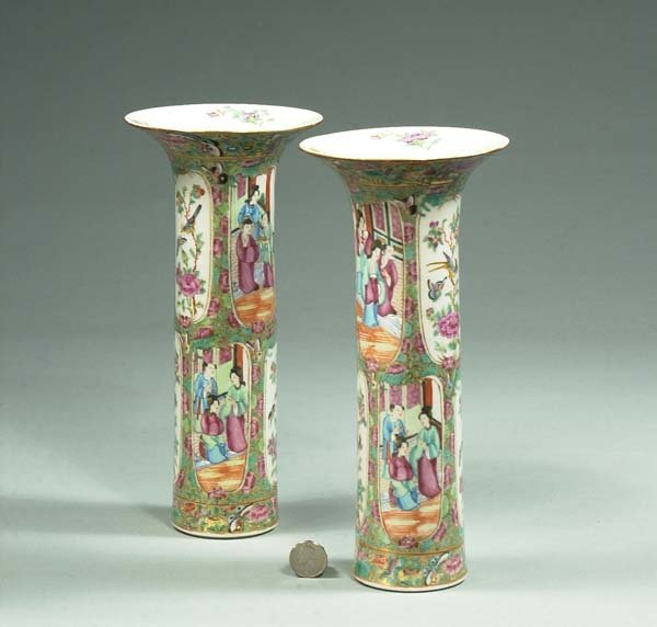 4: Pair of Chinese Rose Medallion cylinder vases with f