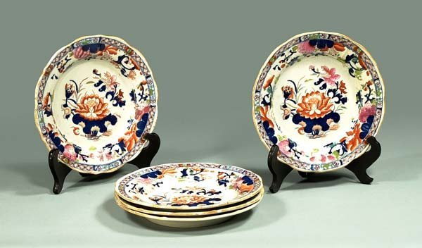 "5: Group of five Masons ironstone 8-1/2"" plates with im"
