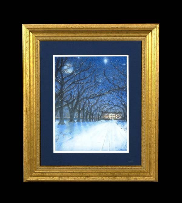 6: Framed multicolor print, winter scene with house, 24