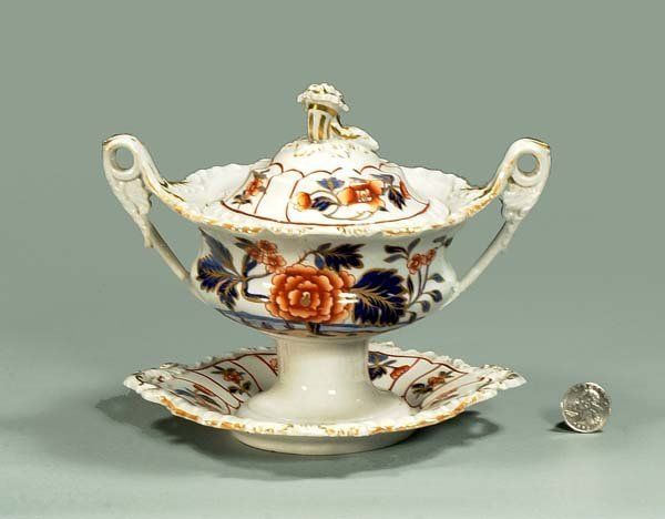 7: English ironstone sauce tureen with floral decoratio