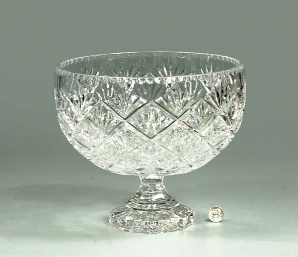 9: Cut crystal center compote in the diamond and sun bu