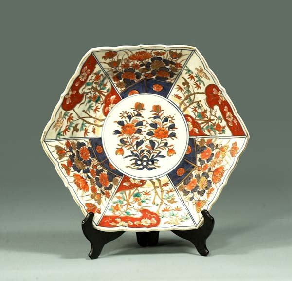 14: Imari porcelain charger with cobalt blue, green and