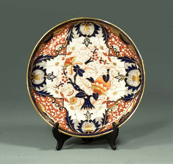 23: English porcelain dish with cobalt blue, gold and b