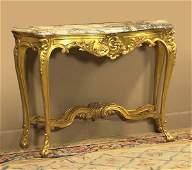 Louis XV gold gilt marble top console table with se