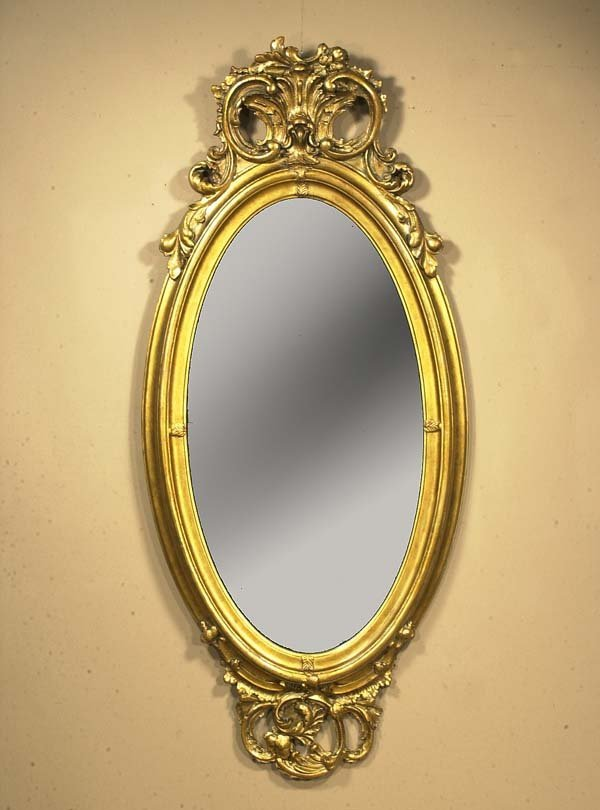 376: Oval gold gilt pier mirror with scroll pediment, c