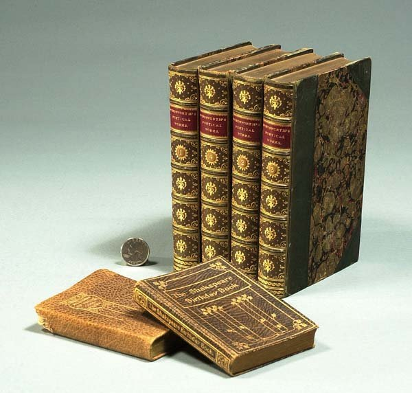 """1002: Group of four leather bound books """"Wordsworth's P"""