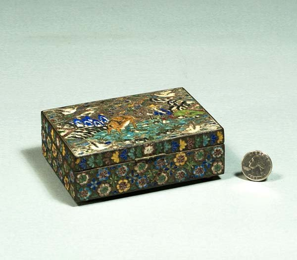 1004: Chinese cloisonnÈ box with scenic decoration, a f