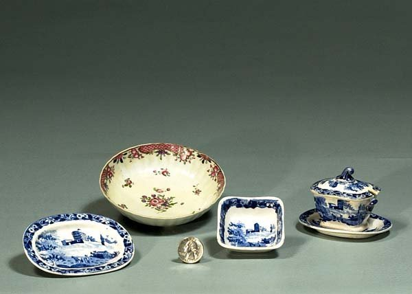 1005: Miniature English ironstone blue and white bowl,