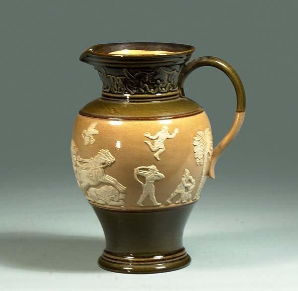 1011: Royal Doulton pitcher with Grecian motif, c.1880,