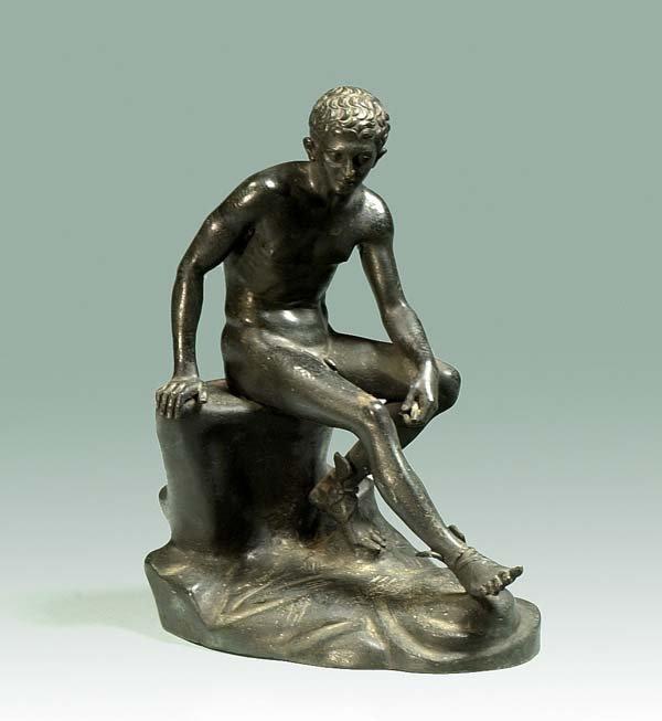 "1012: Bronze sculpture of a nude Mercury, 10"" high"