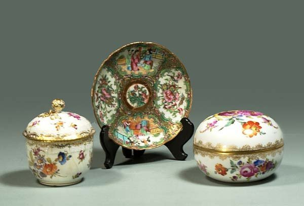 1017: Hand painted porcelain powder jar, and English ch