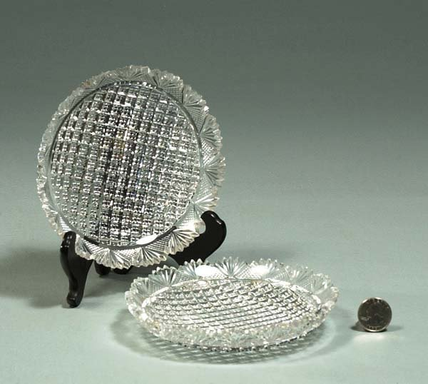 1023: Group of 17 cut crystal nut dishes with sawed