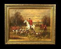 1102 Oil painting on canvas English fox hunting scene