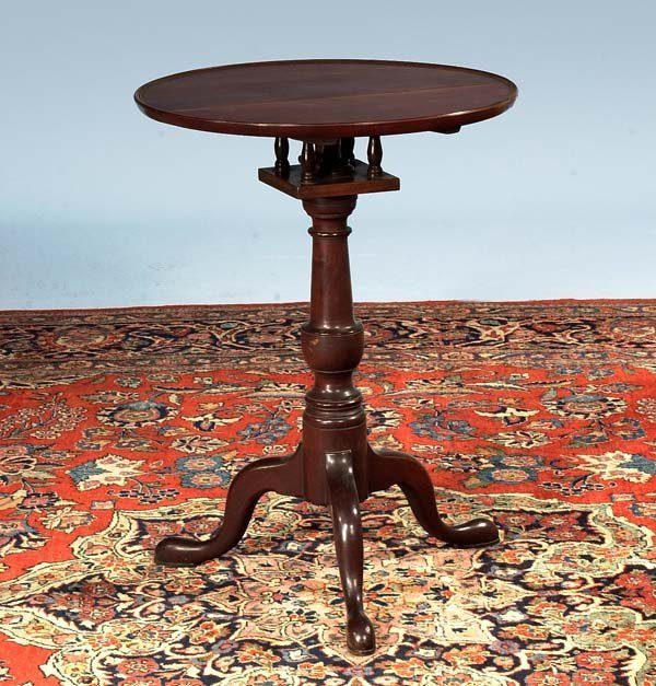 1240: American mahogany bird cage tip table with dish t