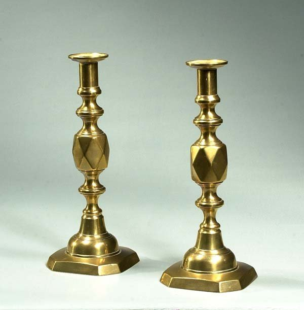 """5: Pair of English brass candlesticks, """"The Queen of Di"""