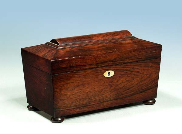 6: Sheraton rosewood tea caddy with mother-of-pearl esc