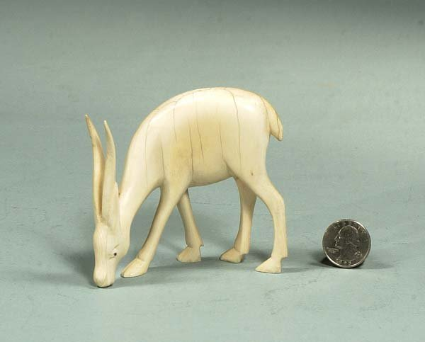 """7A: Carved ivory figure of a antelope, 3-1/2"""" high, 4"""""""