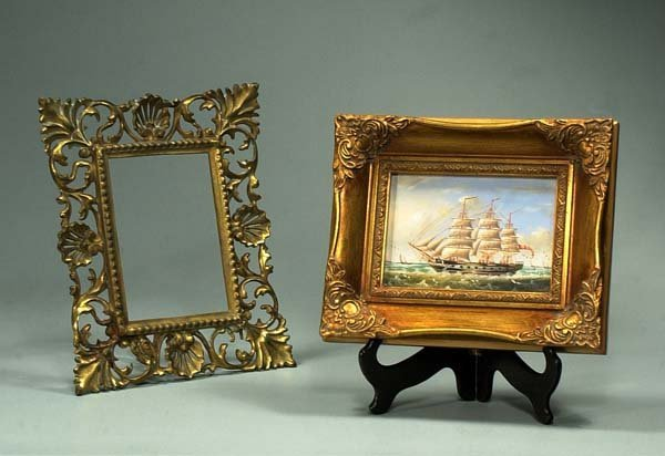 """10: Oil painting on panel of a clipper ship, 9"""" x 11"""" f"""