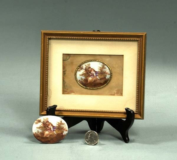 11A: An oval miniature painting on porcelain in a gold