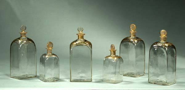 13: Collection of six hand blown apothecary jars with g
